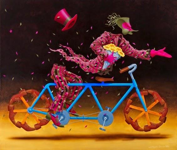 Bicicleta Dupla - Claudio Souza Pinto e suas pinturas cheias de cor e criatividade