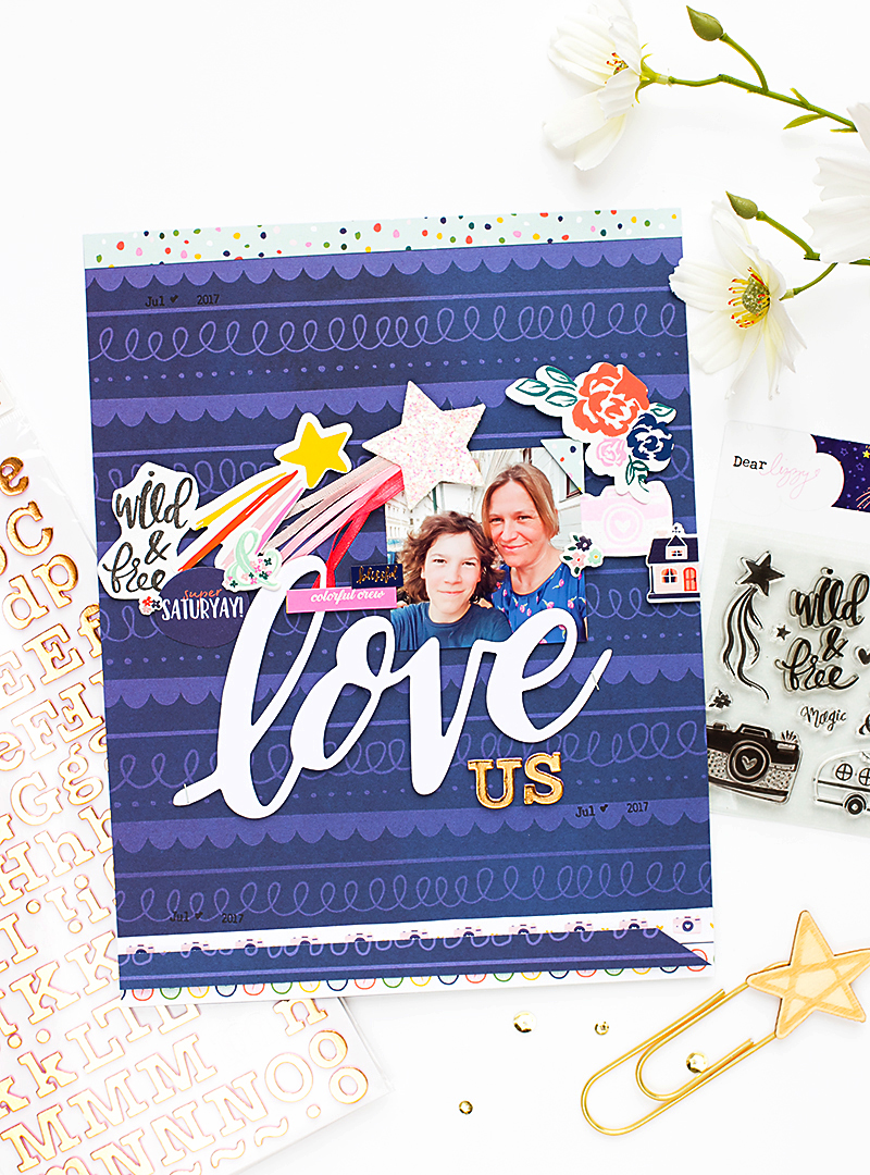 Star Gazer Scrapbook Layout American Crafts @mojosanti for @americancrafts