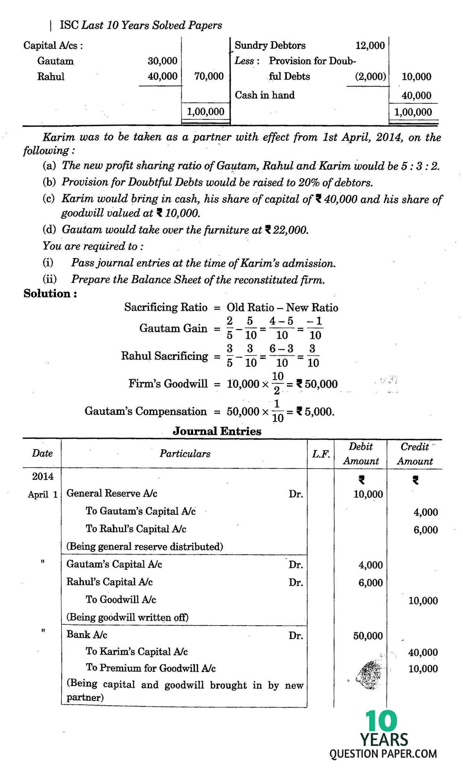 isc 2015 class 12th Accountancy solved question paper