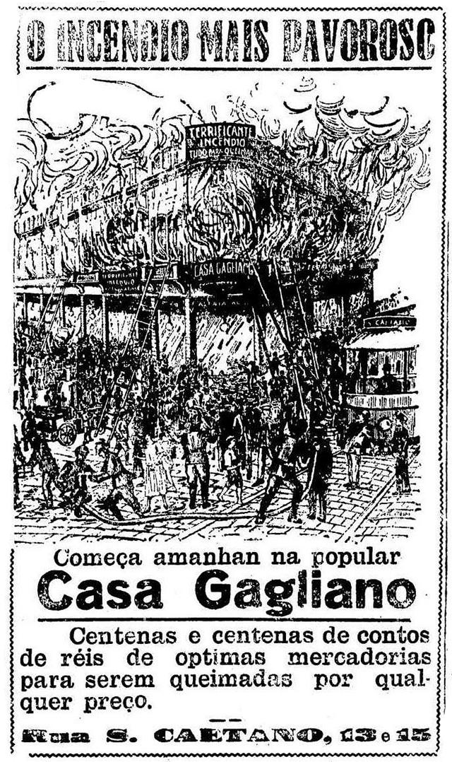 Propaganda inusitada da Casa Gagliano em São Paulo associando uma promoção com incêndio na loja
