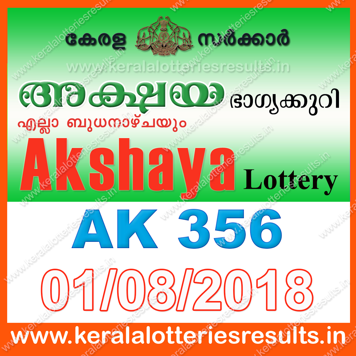 Kerala Lottery Result; 01-08-2018