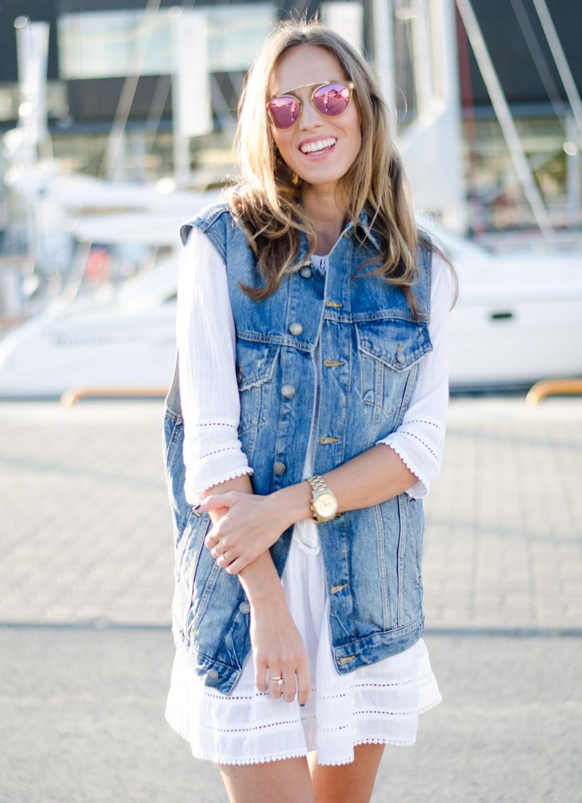 denim vest white dress summer outfit