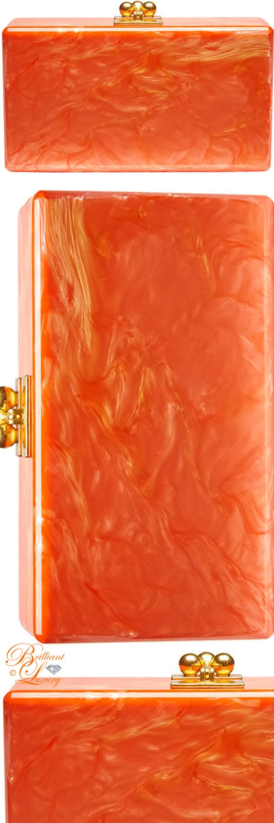 Brilliant Luxury ♦ Edie Parker Jean solid acrylic clutch bag #orange