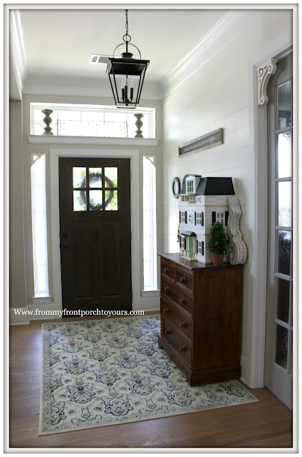 Cottage- Farmhouse- Foyer-Carriage House Lighting-Corbels-Doll House-Shiplap-From My Front Porch To Yours