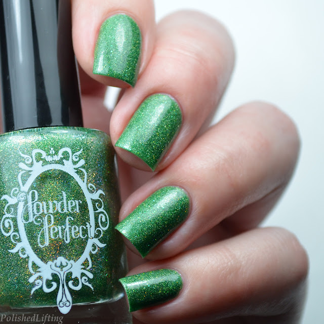 green holographic nail polish swatch