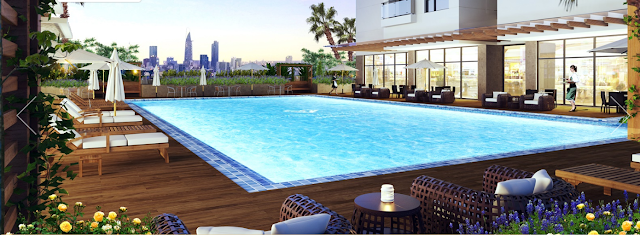 Bể bơi ngoài trời 250m2 tại chung cư Rivera Park Hà Nội