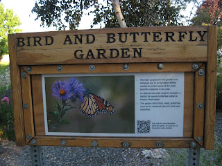 Sign saying 'Bird and Butterfly Garden'. The main purpose for this garden is to introduce you to conservation efforts needed to protect some of the most beautiful creatures in our area. An attempt has been made to recreate a habitat for several butterflies native to Eastern Washington. This garden offers food, water, protective cover, and a sheltered place for birds and butterflies.