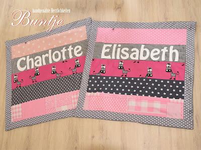 Kuscheldecke Babydecke Decke Baby Zwillinge Mädchen pink rosa grau Sterne Zebra Name Geschenk Geburt Taufe Buntje