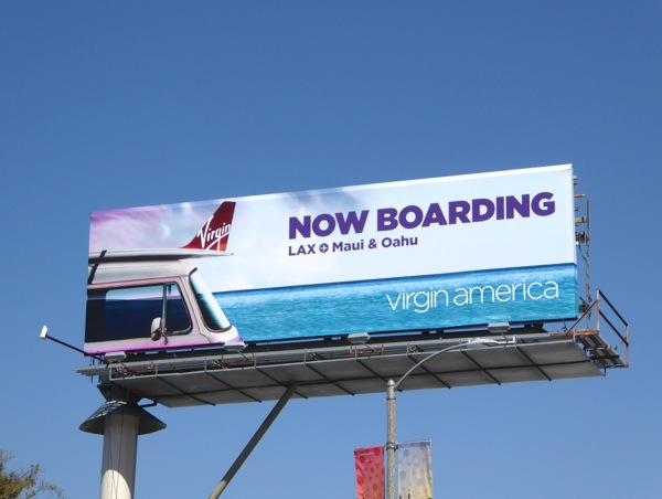 Virgin America Now boarding billboard