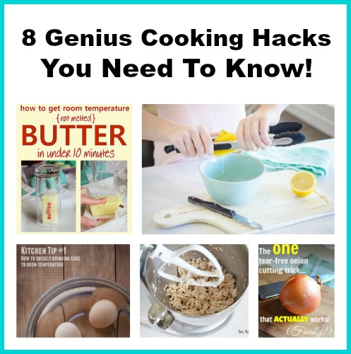 8 Genius Cooking Hacks You Need to Know- Knowing some simple cooking hacks can help you deal with many common cooking frustrations. They'll also save you time, effort, and money! | life hacks, cooking tips, kitchen tips, kitchen hacks, room temperature butter, room temperature eggs, how to shred chicken, tips and tricks