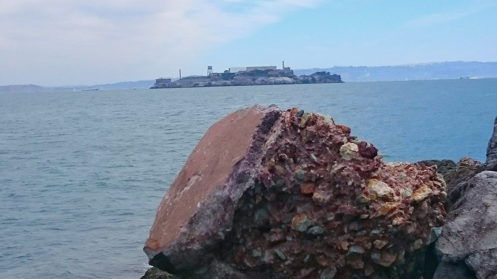 Rock view over the bay to Alcatraz Island