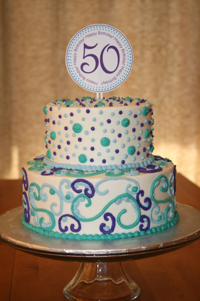 Party Cakes Scrolls And Dots 50Th Birthday Cake-5081