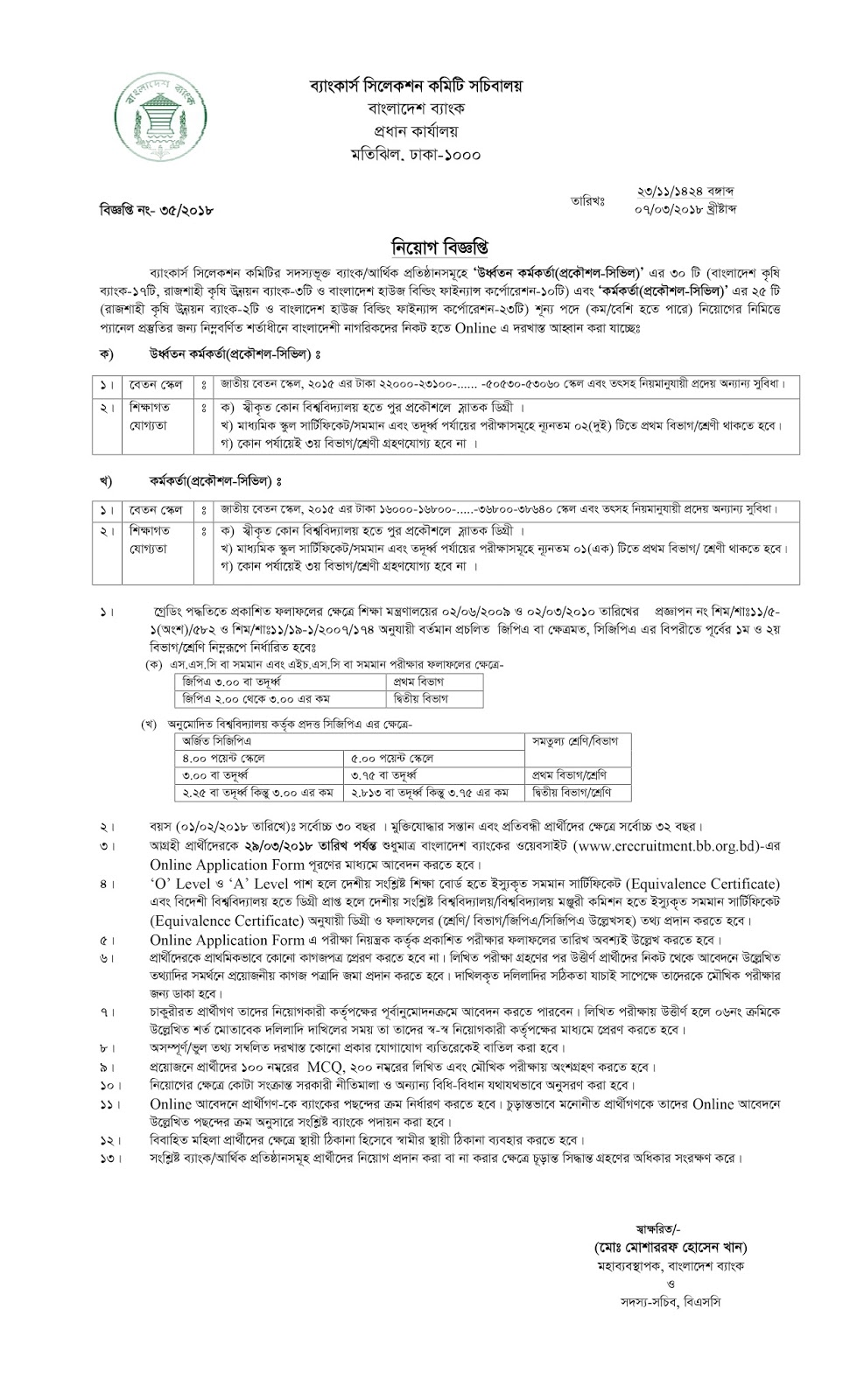 Rajshahi Krishi Unnayan Bank(RAKUB) Senior Officer (Engineer-Civil) Job Circular 2018
