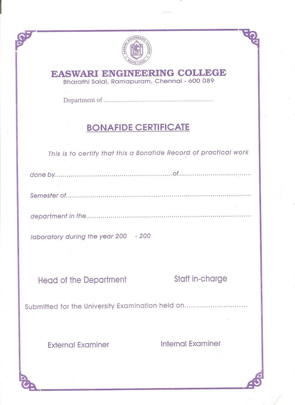 Wonderful Easwari Engineering College   Vadapalani   Bonafide Certificate