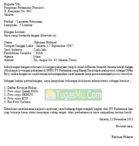 Download Doc Contoh Surat Lamaran Kerja Operator Di SPBU Pom Bensin Pertamina