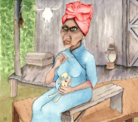 Aunt Julia Brown Voodoo Priestess Watercolor Painting
