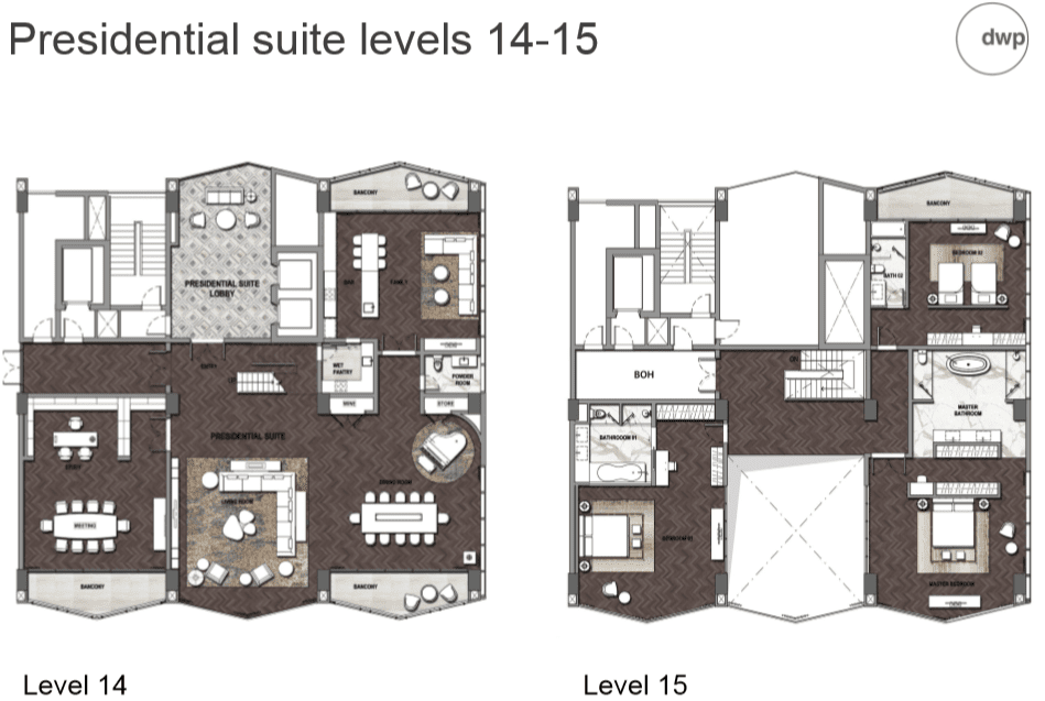 Presidential suite levels 14 - 15