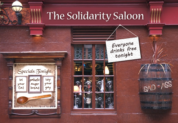 image of a the exterior of a pub which has been photoshopped to be named 'The Solidarity Saloon'