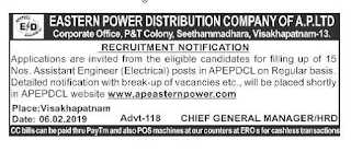 Andhra Pradesh APEPDCL 15 Assistant Engineer (Electrical) Govt Jobs 2019 Apply Online