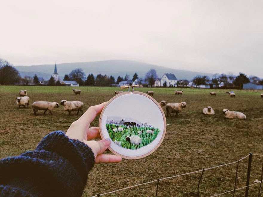 Germany, Laufersweiler - Sew Wanderlust: Designer Embroiders Her Travels On-Site Instead Of Taking Photos