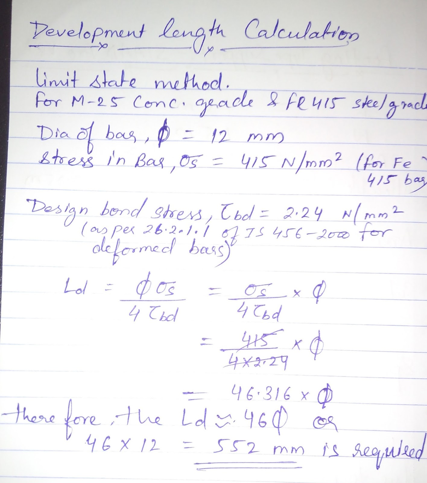 Civil Engineering: Development Length Calculation as per