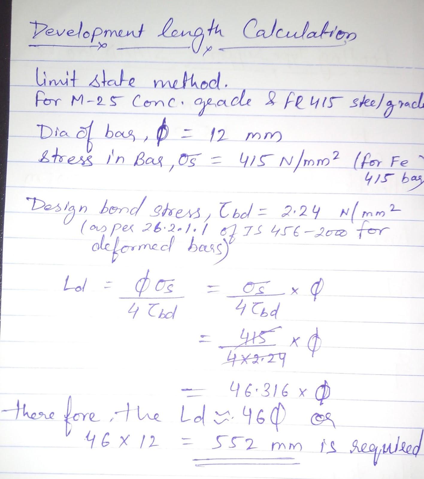 Civil Engineering: Development Length Calculation as per