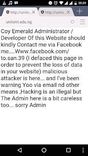 Breaking News:UNILORIN Web Portal Has Been Hacked