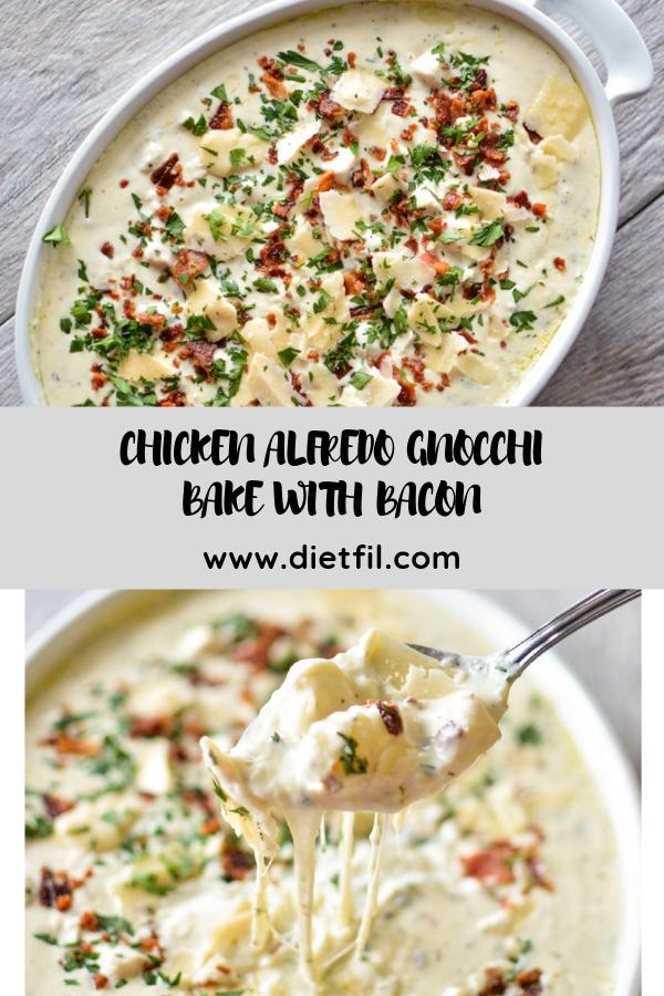CHICKEN ALFREDO GNOCCHI BAKE WITH BACON #chicken #dinner
