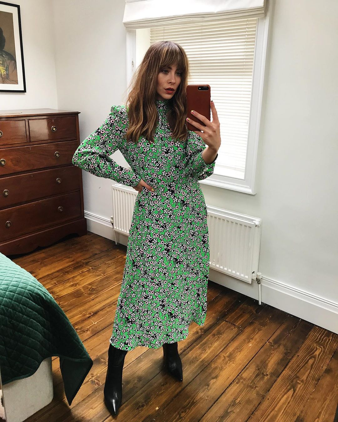This Combo Is Perfect for a Fashion-Forward Office Look — Floral Print Midi Dress and Pointed-Toe Boots