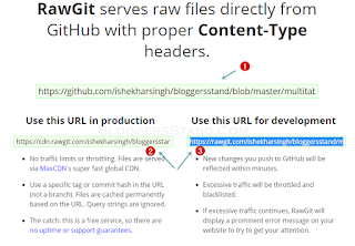 copy the url form rawgit for the website
