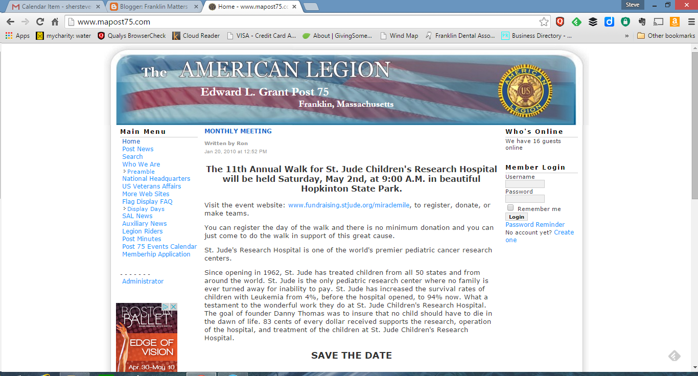 screen grab of American Legion Post 75 webpage