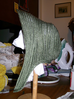 "Green hemp plait straw bonnet form, from ""1859-1862 Low Spoon Straw Bonnet"" pattern by The Dressmaker's Shop"