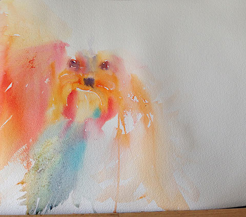 Puppy watercolor by Olga Peregood. First layer, still wet