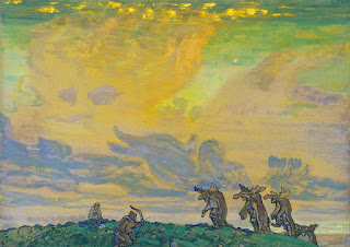 The Great Sacrifice' (original working title for <span class='ital'>The Rite of Spring</span>), preliminary paintings by Nicolas Roerich (1910). © Heritage Image Partnership Ltd / Alamy Stock Photo