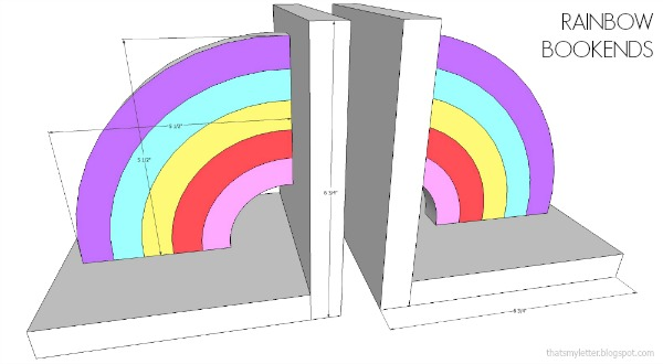 diy rainbow bookends dimensions