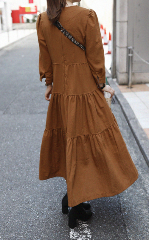 Zip-Up Back Tiered Long Dress