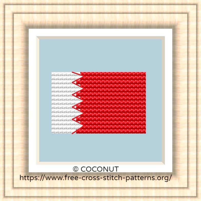 NATIONAL FLAG OF BAHRAIN CROSS STITCH CHART