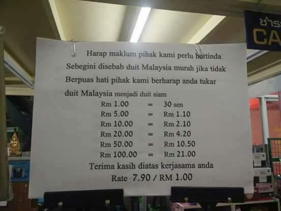Peniaga Di Thailand Tampal Notis Tak Mahu Terima Ringgit Malaysia