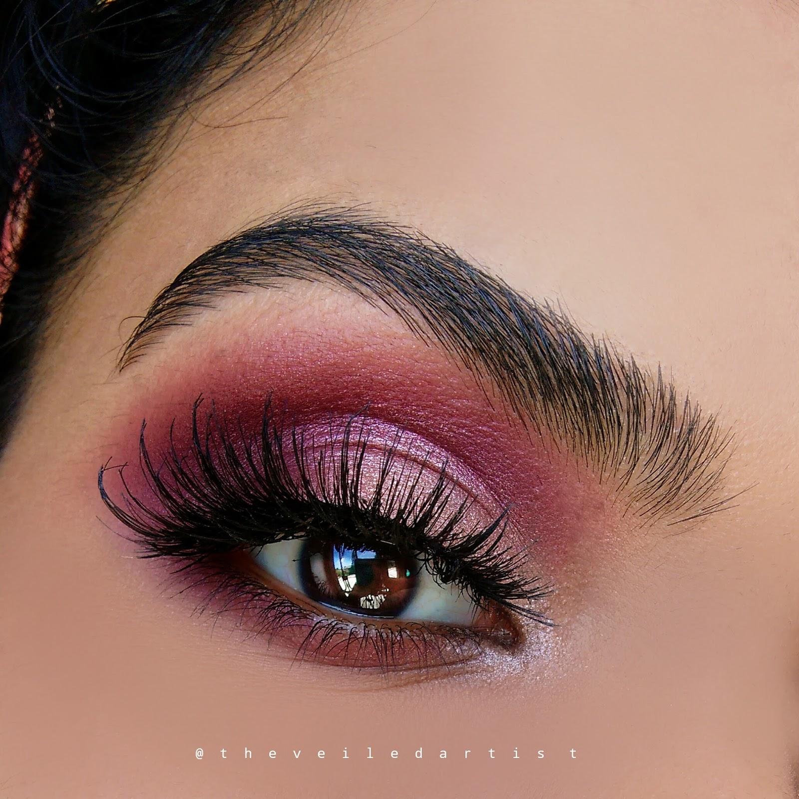 Romantic shimmery pink and burgundy smokey eyes tutorial fall hudabeauty lashes in jade baditri Images