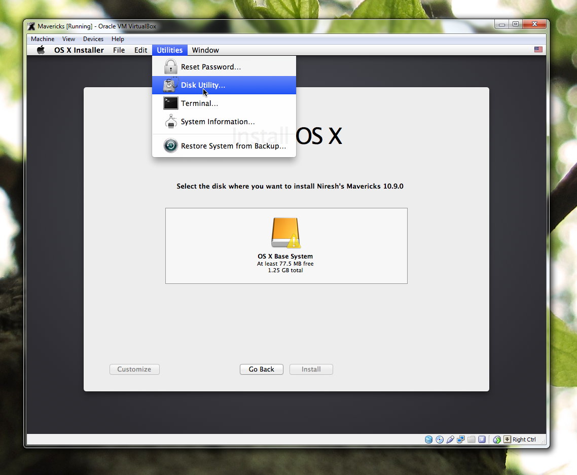 How to install OS X Mavericks in Virtualbox with Niresh