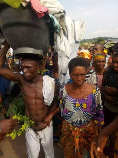 Old Woman Made To Dance Publicly For Having $£x With A Young Man In Ebonyi (Photos)