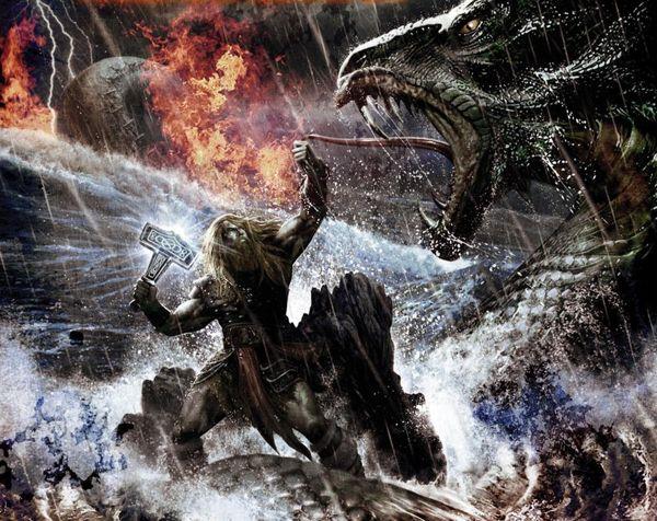 Thor batallando contra la serpiente de Midgard