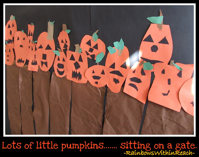 photo of: Pumpkins Sitting on a Gate in Elementary School via RainbowsWithinReach