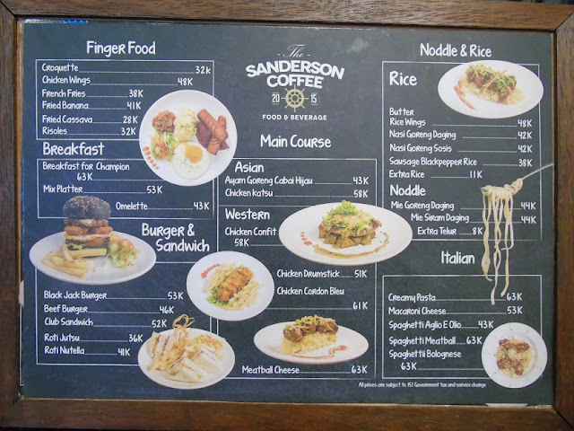 Menu Sanderson Coffee