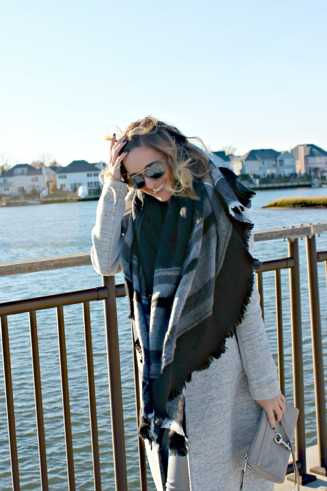 gray plaid blanket scarf from Zara