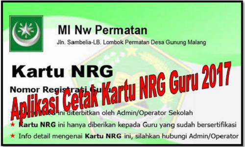 Aplikasi Cetak Kartu NRG Guru 2017