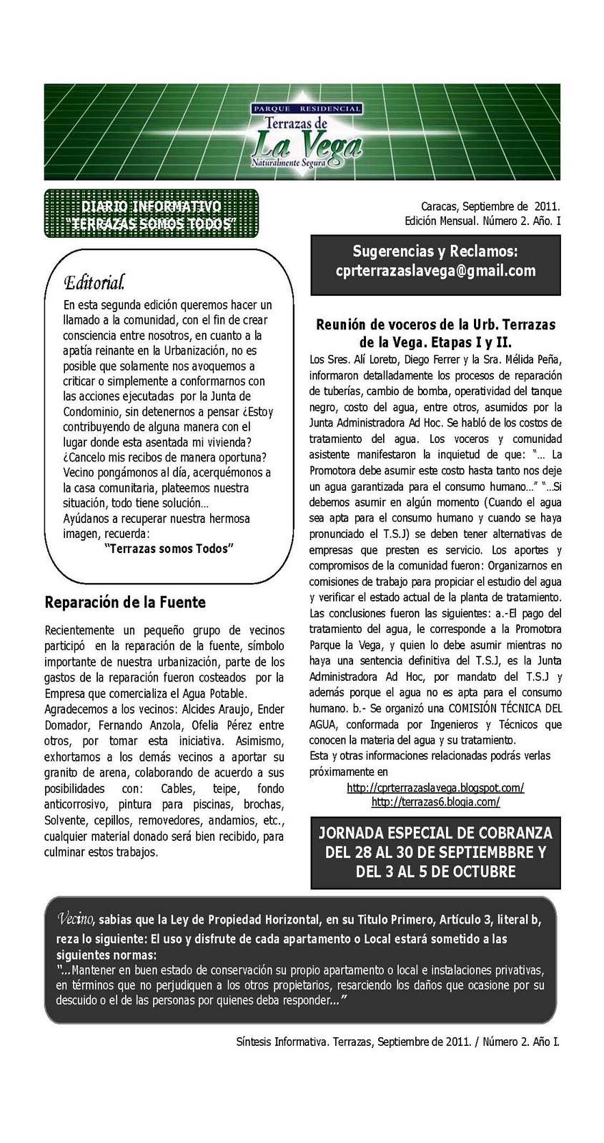 Conjunto Parque Residencial Terrazas De La Vega Diario