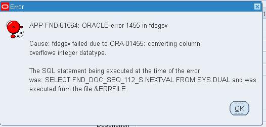 Error For Defining Document Sequencing Number Over 8 Digits