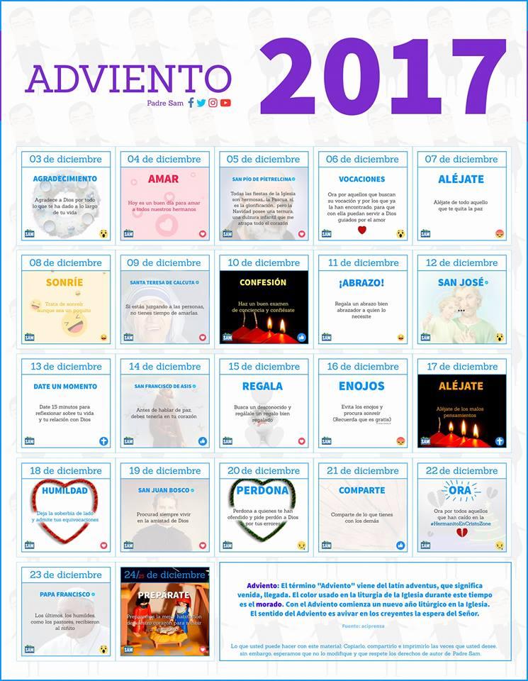 Tallita y las clases de religi n for Calendario adviento 2017