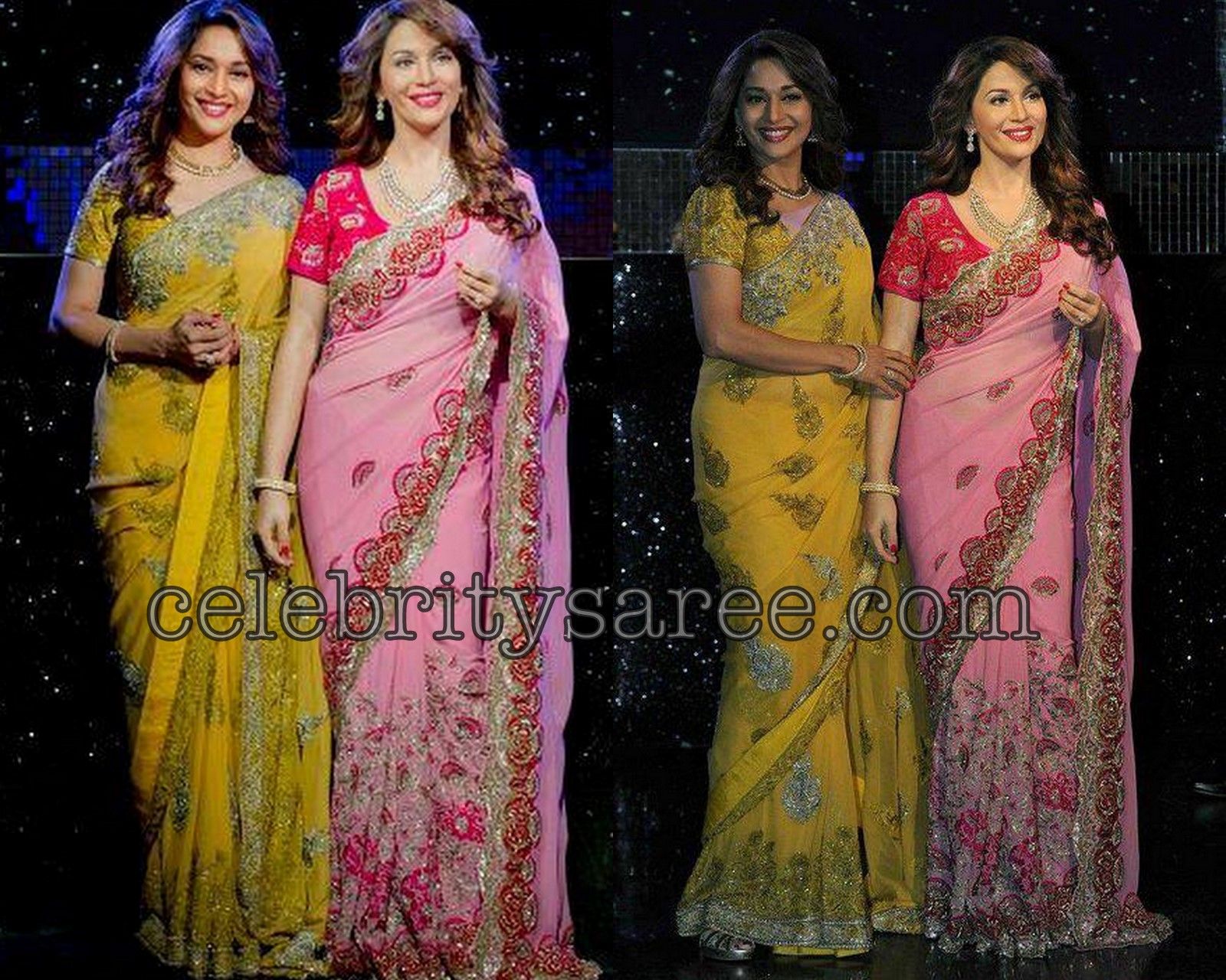 f20f88b27317e1 Checkout Bollywood actress Madhuri Dixit in light baby pink and yellow Georgette  designer sarees with embroidery work border and shimmering gold thread work  ...